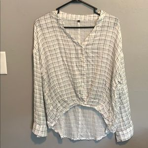 Shein light-weight long sleeved plaid blouse